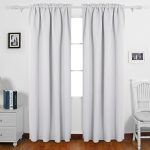 Deconovo Solid Color Light Blocking Curtains Rod Pocket Panels Thermal Insulated Blackout Curtains for Dining Room 52W x 84L Inch Greyish White 2 Panels