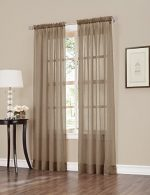 No. 918 Erica Crushed Texture Sheer Voile Curtain Panel, 51″ x 84″, Taupe Brown