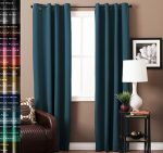 TURQUOIZE Solid Blackout Drapes, Dark Denim, Themal Insulated, Grommet/Eyelet Top, Nursery & Infant Care Curtains Each Panel 52″ W x 96″ L