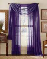 LuxuryDiscounts Beautiful Elegant Solid Purple Sheer Scarf Valance Topper 37″ X 216″ Long Window Treatment Scarves