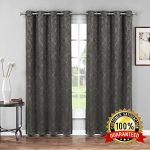 Evelyn – Embossed Thermal Weaved Blackout Curtain With 6 Grommets – Room Darkening & Noise Reduction Fabric – Blocks up to 97% of Sunlight – Premium Draperies (Pair, 38″W x 96″L, Charcoal)
