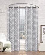 Contemporary Moroccan Trellis Design Classy Top Grommet Two Panel Window 99.9% Blackout Curtain Grey Ornament Pattern 108″Wx84″L