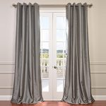 Half Price Drapes PTCH-BO112-84-GR Grommet Blackout Faux Silk Taffeta Curtain, Platinum