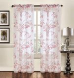 "Creative Home Textiles – Floral Pattern Rod Pocket Sheer Window Panel Curtain Drape Treatment 2 pack – 74"" wide by 84"" long (Rust)"