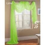 Gorgeous Home 1 PC SOLID LIME GREEN SCARF VALANCE SOFT SHEER VOILE WINDOW PANEL CURTAIN 216″ LONG TOPPER SWAG