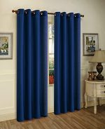 LuxuryDiscounts 2 Piece Solid Navy Blue Faux Silk Grommet Window Curtain Treatment Panel Drapes 54″ By 84″