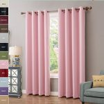 ChadMade Solid Thermal Insulated Blackout Curtains Drapes Antique Bronze Grommet / Eyelet Pink 52Wx84L Inch (Set of 2 Panels)