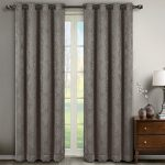Bella Gray Grommet Blackout Weave Embossed Window Curtain Panels, Pair / Set of 2 Panels, 52×96 inches Each, by Royal Hotel