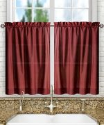 Ellis Curtain Stacey 56-by-45″ Tailored Tier Pair Curtains, Merlot