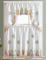 3pcs Kitchen Curtain / Cafe Curtain Set, Air-brushed By Hand of Fruits Combo Design