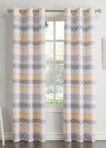 No. 918 Rex Geometric Print Casual Textured Curtain Panel, 48″ x 63″, Yellow