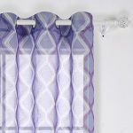 Deconovo Decorative Light Filtering Wave Print Woven Voile Panel Sheer Window Curtains for Living Room 42X84 Inch Purple and White One Panel