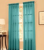 GorgeousHomeLinenDifferent Solid Colors 2 PC Rod Pocket Sheer Window Curtains Treatment Drape Voile Elegant Panels 55″ Width X 63″ 84″ 95″ Length (84″ Length, Teal Blue)