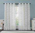 White Lace Curtain Panel 57 X 98 Inches , Beautifully Crafted Floral Pattern Window Curtain Filters the Light Preserves Privacy (Athena)