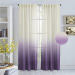 Turquoize Ombré Semi Sheer Curtains, Back Tab Top Linen Filmy Sheers, Light Filtering Drapes, Translucence, Decorative curtains, 2 Panels Pack. L84 by W52 Inch, Plum Purple.