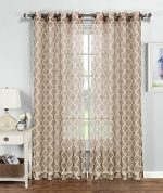 Window Elements Quatrefoil Printed Sheer Extra Wide 54 x 84 in. Grommet Curtain Panel, Beige/White