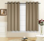 TOYABR 1 Panel Pure Cotton Canvas Fabric Thermal Insulated Blackout Room Darkening Ultraviolet-Proof Window Curtain For Living Room (52 x 63 inch, Dark Khaki)