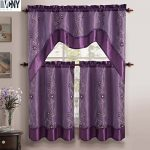 Daphne Embroidered Kitchen Curtain Set By Victoria Classics – Assorted Colors (Purple) 3 pieces one valance 57″in x 36″in(145cm X 91cm) two tiers 28″in X 36″in (71cm X 91cm)