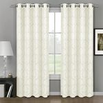 Deluxe Energy Efficient & Room Darkening. Pair of Two Top Floral Grommet Jacquard Curtain Panel, Elegant and Contemporary Aryanna, Off White, 63″ L Panel