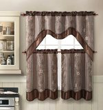 Daphne Embroidered Kitchen Curtain Set By Victoria Classics – Assorted Colors (Chocolate)