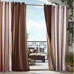 Outdoor decor Gazebo Stripe Indoor Outdoor Window Panels, 50 by 84, Khaki