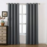 AMAZLINEN 52×84-Inch Grommet Top Blackout Curtains with Tie Back, Charcoal Grey (Set of 2)
