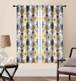 EliteHomeProducts 2 Piece Luxury Blackout Floral Yellow /Gray 52″ x 63″ Window Curtain Set