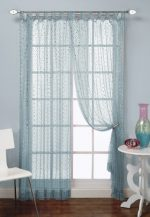 1888 Mills Groovy 50-inch-by-84-inch Single Tab-Top Panel Sheer with Sequins, Turq