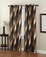 No. 918 Intersect Wave Print Casual Textured Curtain Panel, 48″ x 63″, Charcoal Gray