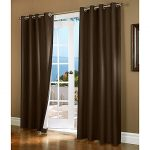 Gorgeous Home (#32) 1 PANEL SOLID BROWN COFFEE THERMAL FOAM LINED BLACKOUT HEAVY THICK WINDOW TREATMENT CURTAIN DRAPES SILVER GROMMETS * AVAILABLE IN DIFFERENT SIZES * (84″ LENGTH)
