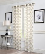 "2 Piece GEO Flocked Sheer Grommet Window Curtain Panels 38″ X 84″ Total 76 "" X 84″ (Raffia)"