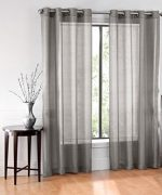 GorgeousHomeLinen RubyDifferent Colors 2 Pc Sheer Window Treatment Curtain 55″ Wide x 84″ Length Drape Panels 8 Soild Bronze Grommets (Dark Grey)