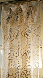 Ds Ivory Beige Scroll 48″ Wide Living Room Window Netted Sheer Curtain Panel (48W X 84 L)