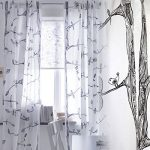 Pair of Tree and Bird Pattern Curtains , Each Panel Measures 98″ Long and 57″ Wide , Buyer Receives 2 Panels