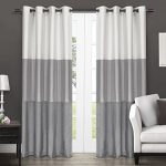 Exclusive Home Chateau Striped Faux Silk Grommet Top Window Curtain Panels – 54″ x 84″, Dove Grey, Sold As Set of 2 / Pair