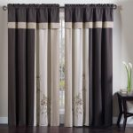 Chezmoi Collection 4 Piece Embroidered Floral Window Curtain Set with Tassels, Brown