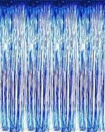 "New! Set of 3 Blue Metallic Foil Fringe Door & Window Curtain Party Decoration 3′ X 8′ (36″ X 96″) ""Value Pack of 3"""