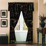 """The Woods"" Camo Curtain & Valance 5 Piece Drape Set Black"