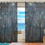 INGBAGS Bedroom Decor Living Room Decorations Night Sky Forest Starry Milky Way Tree Pattern Print Tulle Polyester Door Window Gauze / Sheer Curtain Drape Two Panels Set 55×78 inch ,Set of 2
