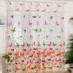 Outtop Butterfly Print Sheer Window Panel Curtains Room Divider For Living Room Bedroom Girl 200X100CM