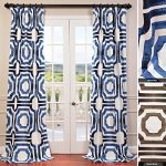 Half Price Drapes PRTW-D23B-96 Mecca Printed Cotton Curtain, 50″ x 96″, Blue