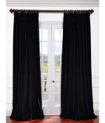 Half Price Drapes VPCH-VET1212-96 Signature Doublewide Blackout Velvet Curtain, Black, 100 X 96