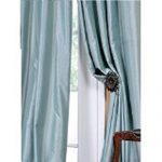 Blackpeel 4 Pc 108″ Long Light Blue Grommet Faux Silk Panels Window Curtain