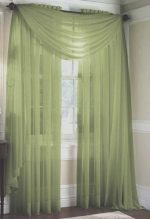 LuxuryDiscounts 2 Piece Solid Sage Green Elegant Sheer Curtains Fully Stitched Panels Window Treatment Drape 55″ X 84″