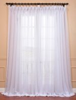 Half Price Drapes SHCH-VOL1-96-DLDW Signature Double Layered Wide Sheer Curtain 100, White