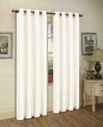 LuxuryDiscounts 2 Piece Solid White FAUX SILK BLACKOUT Grommet Window Panel Curtain Drapes with Foam Backing – 38″W x 84″L