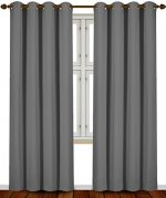 Blackout Room Darkening Curtains Window Panel Drapes (Grey Color) – 2 Panel Set, 52 inch wide by 84 inch long each panel – by Utopia Bedding
