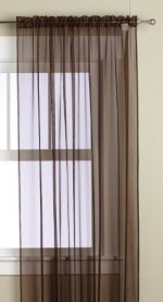 Editex Home Textiles Monique Sheer Window Panel, 55 by 63-Inch, Chocolate
