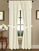 GorgeousHomeLinen 5 PC Ivory 54″ W X 63″ L Rod Pocket Faux Silk Drape Blackout Window Curtains, Attached Fringe Valance & Panels