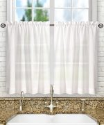Ellis Curtain Stacey 56-by-36 Inch Tailored Tier Pair Curtains, White, 56×36